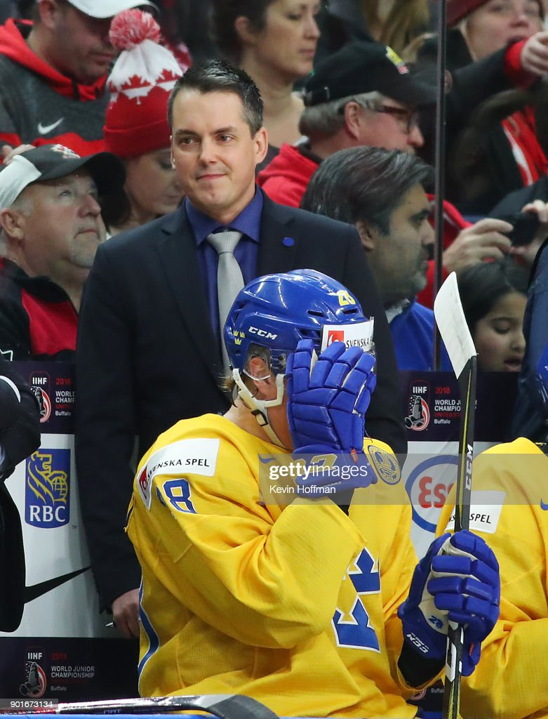 Tomas Monten head coach of Sweden during the Gold medal game against Canada of the IIHF World Junior Championship at KeyBank Center on January 5, 2018 in Buffalo, New York.