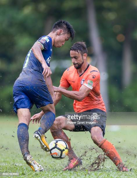 Tomas Moronesi of Sun Bus Yeun Long fights for the ball with Yin Kwok Chuck of BC Rangers during the Hong Kong Premier League Week 4 match between BC...