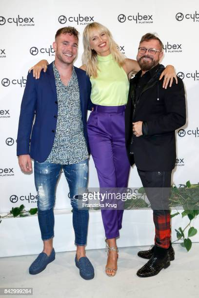 Tomas Mostl supermodel and actress Karolina Kurkova and Vasek Skala during the Cybex Fashion Cocktail on September 5 2017 in Berlin Germany