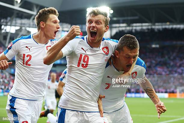 Tomas Necid of Czech Republic celebrates with Milan Skoda and Ladislav Krejci after he scores from the penalty spot to make the score 22 during the...