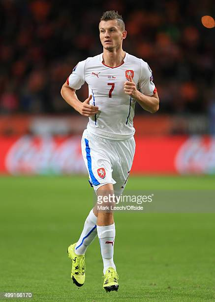 Tomas Necid of Czech Republic in action during the UEFA EURO 2016 Qualifying Group A match between the Netherlands and the Czech Republic at the...