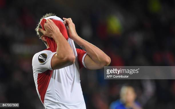 Tomas Necid of Slavia Praha reacts during the UEFA Europa League group A football match Slavia Prague v Maccabi Tel Aviv Fc in Prague on September...