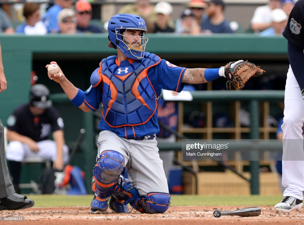 Tomas Nido #70 of the New York Mets looks on during the Spring Training game against the Detroit Tigers at Publix Field at Joker Marchant Stadium on March 12, 2017 in Lakeland, Florida. The Tigers defeated the Mets 4-3.