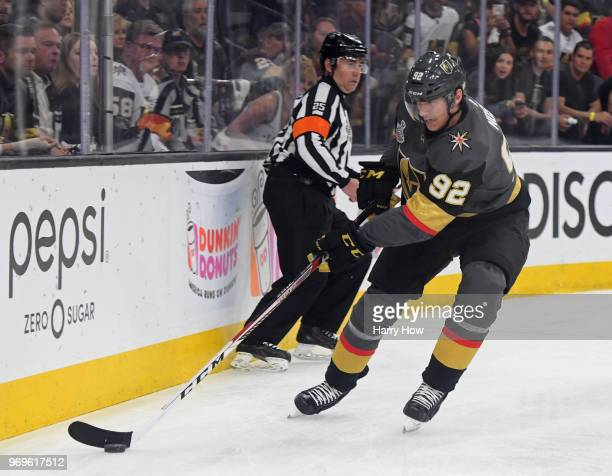 Tomas Nosek of the Vegas Golden Knights carries the puck against the Washington Capitals during the first period in Game Five of the 2018 NHL Stanley...