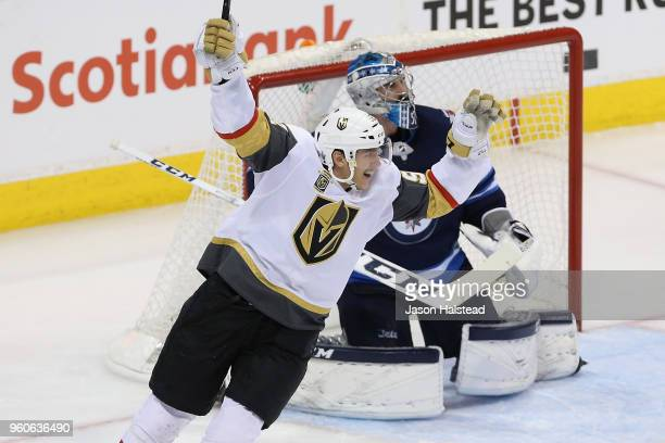 Tomas Nosek of the Vegas Golden Knights celebrates a second period goal by Ryan Reaves against the Winnipeg Jets in Game Five of the Western...