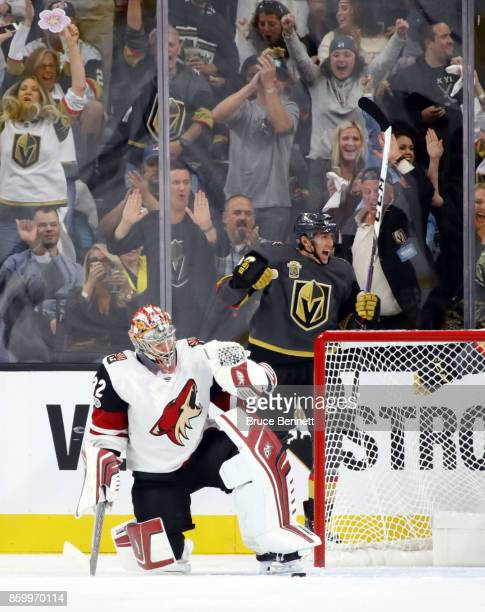 Tomas Nosek of the Vegas Golden Knights celebrates his goal which was the first for the franchise at home against Antti Raanta of the Arizona Coyotes...