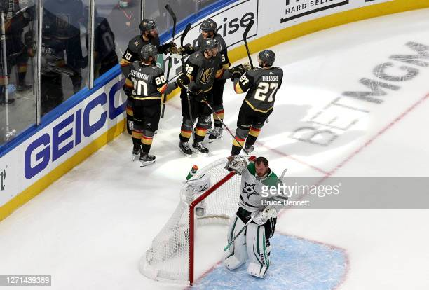 Tomas Nosek of the Vegas Golden Knights celebrates with his teammates after scoring a goal on Anton Khudobin of the Dallas Stars during the second...