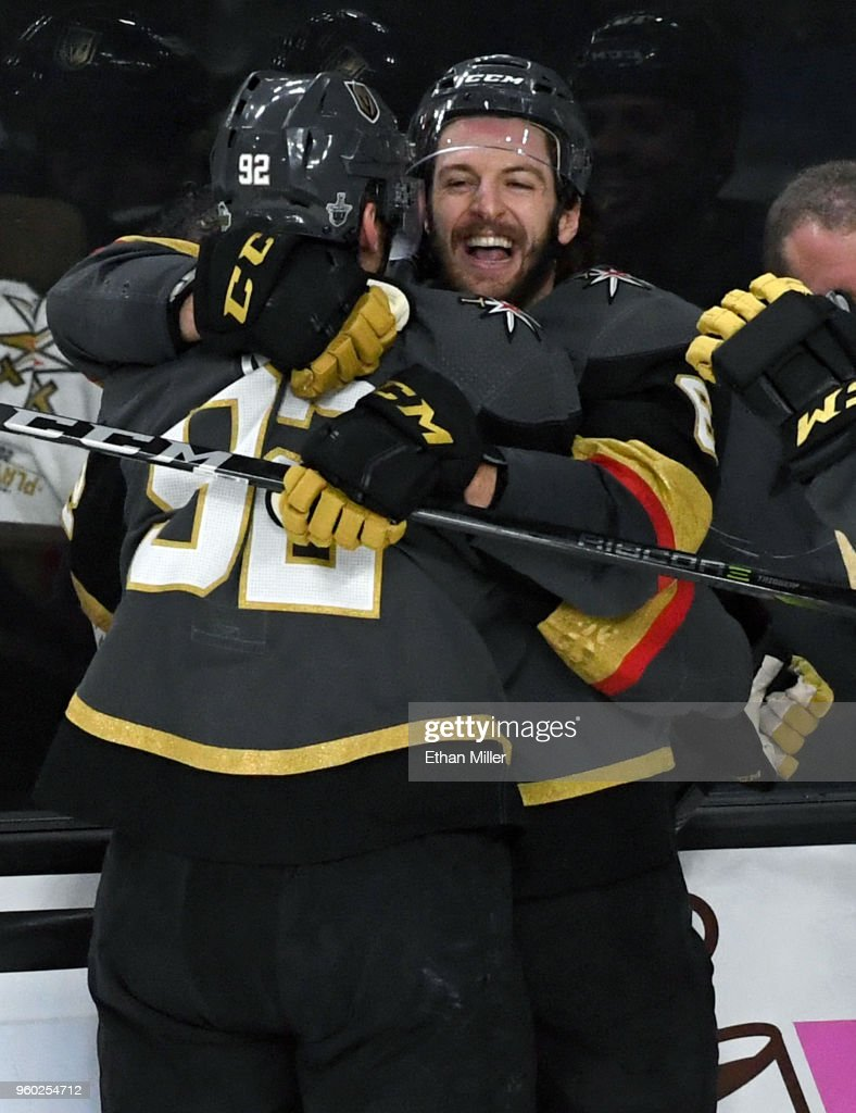 Tomas Nosek #92 of the Vegas Golden Knights is congratulated by teammate Colin Miller #6 after scoring a second-period goal against the Winnipeg Jets in Game Four of the Western Conference Finals during the 2018 NHL Stanley Cup Playoffs at T-Mobile Arena on May 18, 2018 in Las Vegas, Nevada. The Golden Knights won 3-2.