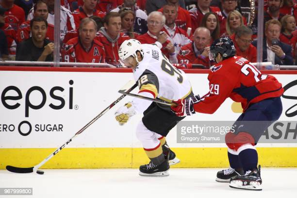 Tomas Nosek of the Vegas Golden Knights is defended by Christian Djoos of the Washington Capitals during the first period in Game Four of the 2018...