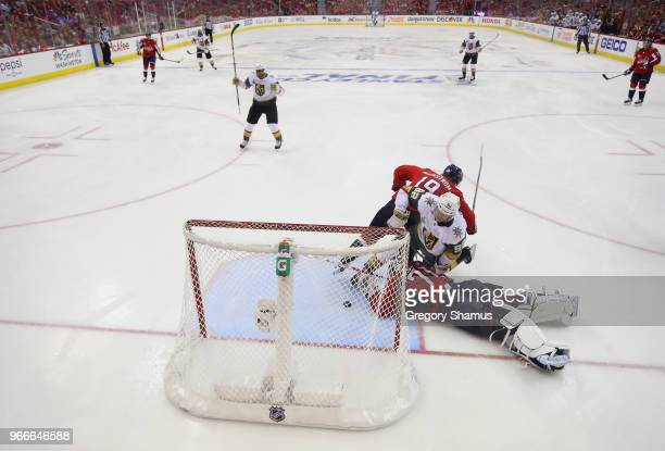 Tomas Nosek of the Vegas Golden Knights scores a goal against Braden Holtby of the Washington Capitals during the third period in Game Three of the...