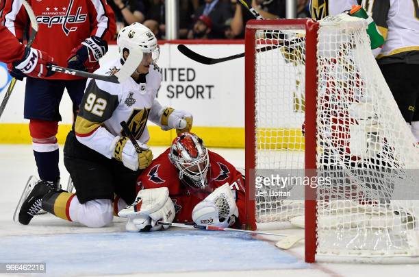 Tomas Nosek of the Vegas Golden Knights scores a goal during the third period against Braden Holtby of the Washington Capitals in Game Three of the...