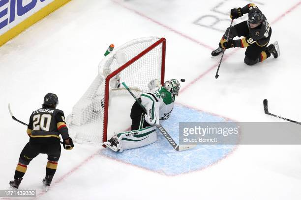 Tomas Nosek of the Vegas Golden Knights scores a goal on Anton Khudobin of the Dallas Stars during the second period in Game Two of the Western...