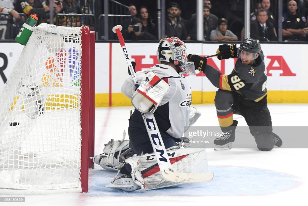 Tomas Nosek #92 of the Vegas Golden Knights scores a third-period goal past Braden Holtby #70 of the Washington Capitals in Game One of the 2018 NHL Stanley Cup Final at T-Mobile Arena on May 28, 2018 in Las Vegas, Nevada.