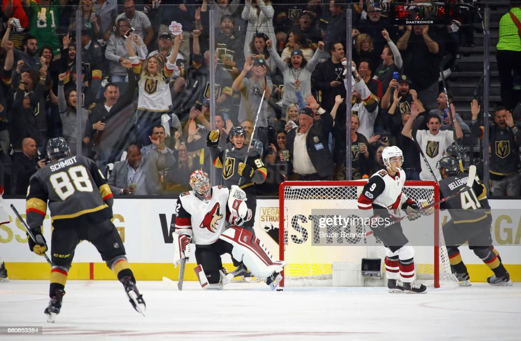 Tomas Nosek #92 of the Vegas Golden Knights scores the first franchise goal at home against the Arizona Coyotes during the Golden Knights' inaugural regular-season home opener at T-Mobile Arena on October 10, 2017 in Las Vegas, Nevada. The Golden Knights defeated the Coyotes 5-2.