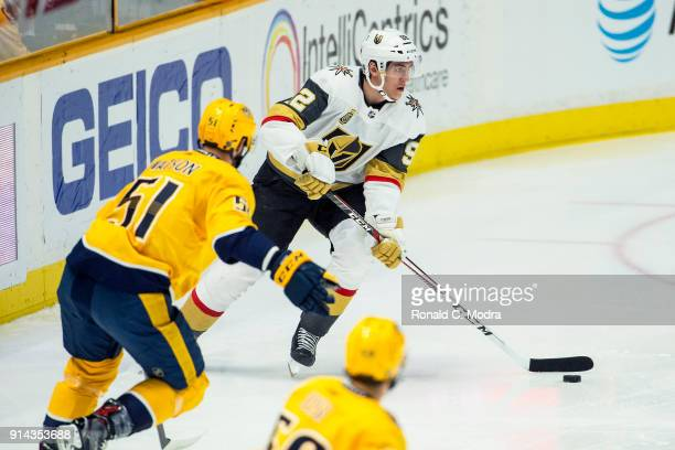Tomas Nosek of the Vegas Golden Knights skates against the Nashville Predators during a NHL game at Bridgestone Arena on January 16 2018 in Nashville...