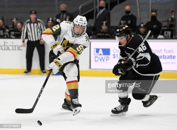 Tomas Nosek of the Vegas Golden Knights skates for the puck in front of Blake Lizotte of the Los Angeles Kings during the first period at Staples...