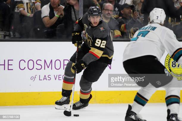 Tomas Nosek of the Vegas Golden Knights skates with the puck in Game One of the Western Conference Second Round against the San Jose Sharks during...