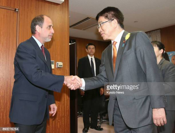 Tomas Ojea Quintana the UN special rapporteur on North Korean human rights and Katsunobu Kato Japan's minister in charge of the North Korean...