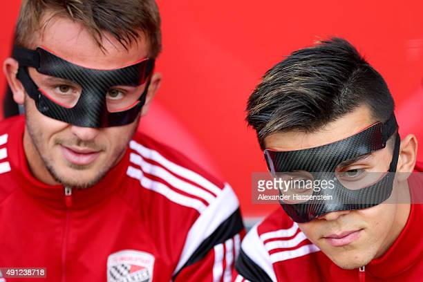 Tomas Pekhart of Ingolstadt and his team mate Robert Bauer smiles prior to the Bundesliga match between FC Ingolstadt and Eintracht Frankfurt at Audi...