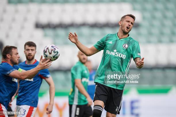Tomas Pekhart of Legia reacts during UEFA Champions League First Qualifying Round match between Legia Warsaw and Linfield at Stadion Wojska Polskiego...