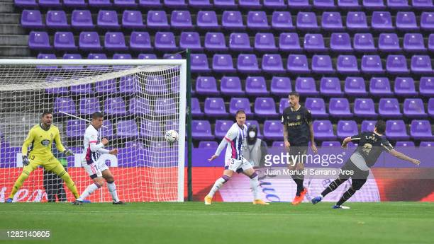 Tomas Pina of Deportivo Alaves scores his sides first goal during the La Liga Santander match between Real Valladolid CF and Deportivo Alavés at...