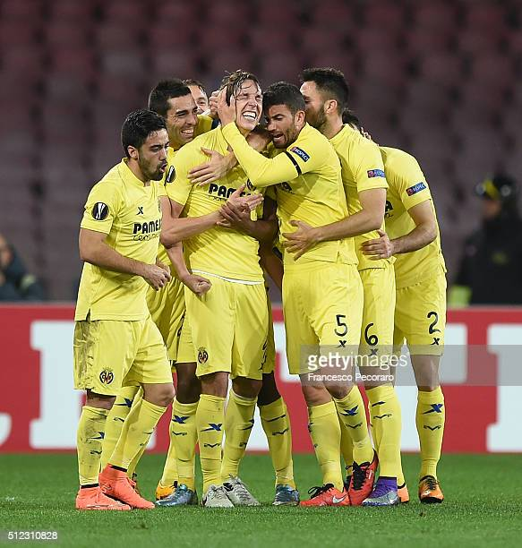 Tomas Pina of Villareal celebrates after scoring goal 11 during the UEFA Europa League Round of 32 second leg match between SSC Napoli and Villarreal...