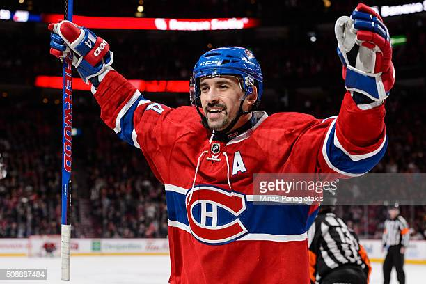 Tomas Plekanec of the Montreal Canadiens celebrates during the NHL game against the Buffalo Sabres at the Bell Centre on February 3 2016 in Montreal...