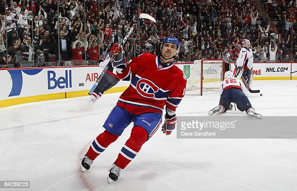 Tomas Plekanec of the Montreal Canadiens celebrates his 3rd period goal against the Washington Capitals during their NHL game at the Bell Centre...