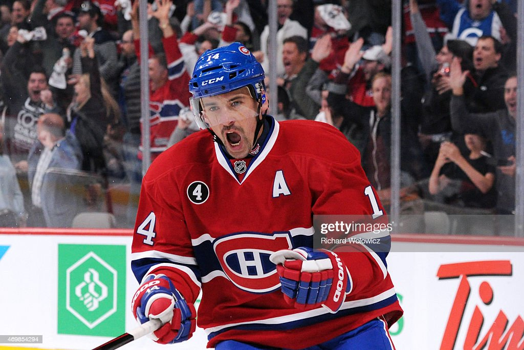 Tomas Plekanec #14 of the Montreal Canadiens celebrates his second period goal in Game One of the Eastern Conference Quarterfinals during the 2015 NHL Stanley Cup Playoffs at the Bell Centre on April 15, 2015 in Montreal, Quebec, Canada.