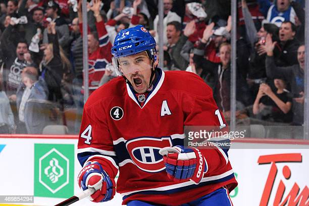 Tomas Plekanec of the Montreal Canadiens celebrates his second period goal in Game One of the Eastern Conference Quarterfinals during the 2015 NHL...