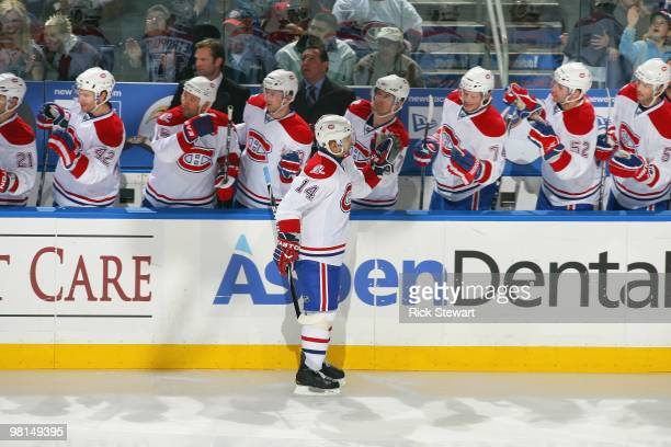 Tomas Plekanec of the Montreal Canadiens celebrates with teammates against the Buffalo Sabres at HSBC Arena on March 24 2010 in Buffalo New York