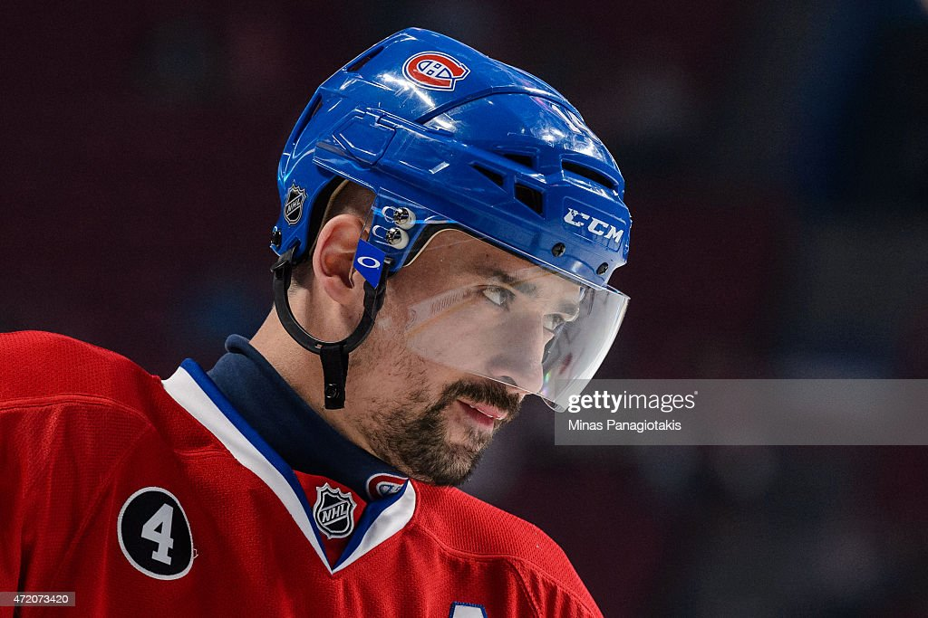 Tomas Plekanec #14 of the Montreal Canadiens looks on in the warmup period prior to Game One of the Eastern Conference Semifinals against the Tampa Bay Lightning during the 2015 NHL Stanley Cup Playoffs at the Bell Centre on May 1, 2015 in Montreal, Quebec, Canada. The Tampa Bay Lightning defeated the Montreal Canadiens 2-1 in the second overtime period and take a 1-0 lead in the series.