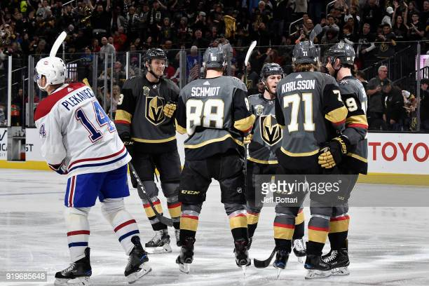 Tomas Plekanec of the Montreal Canadiens reacts as Nate Schmidt celebrates his goal with his teammates Brayden McNabb William Karlsson Jonathan...