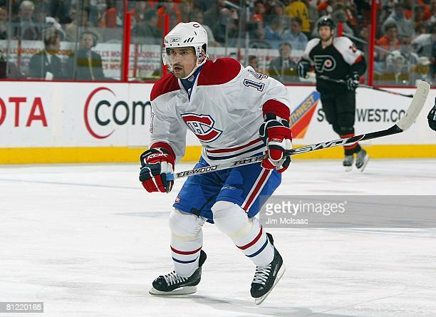 Tomas Plekanec of the Montreal Canadiens skates against the Philadelphia Flyers during Game 4 of the Eastern Conference Semifinals of the 2008 NHL...