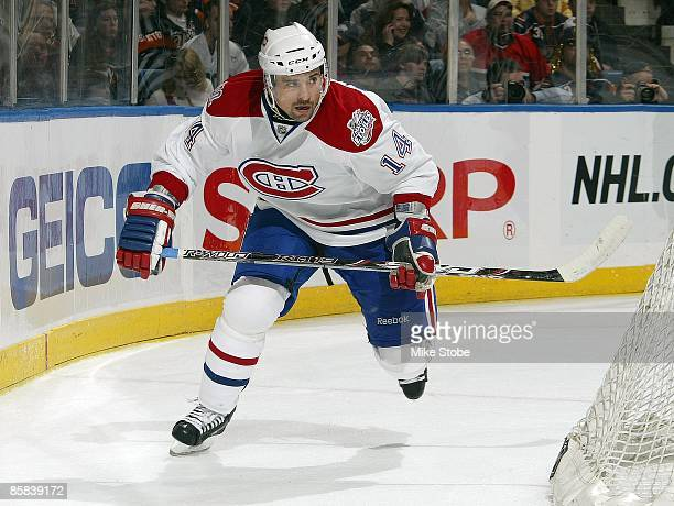 Tomas Plekanec of the Montreal Canadiens skates against the New York Islanders on April 2 2009 at Nassau Coliseum in Uniondale New York Canadiens...