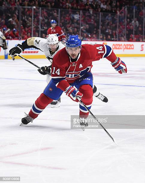Tomas Plekanec of the Montreal Canadiens skates against the Pittsburgh Penguins in the NHL game at the Bell Centre on January 9 2016 in Montreal...