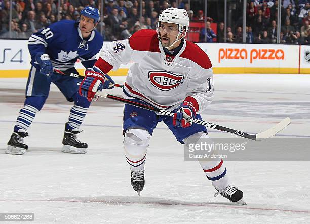 Tomas Plekanec of the Montreal Canadiens skates against the Toronto Maple Leafs during an NHL game at the Air Canada Centre on January 232016 in...