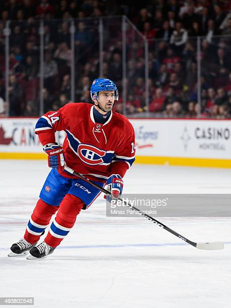 Tomas Plekanec of the Montreal Canadiens skates during the NHL game against the St Louis Blues at the Bell Centre on October 20 2015 in Montreal...