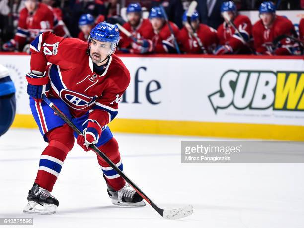 Tomas Plekanec of the Montreal Canadiens skates during the NHL game against the Winnipeg Jets at the Bell Centre on February 18 2017 in Montreal...