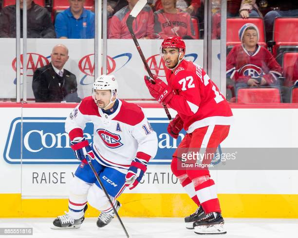 Tomas Plekanec of the Montreal Canadiens skates in front of Andreas Athanasiou of the Detroit Red Wings during an NHL game at Little Caesars Arena on...