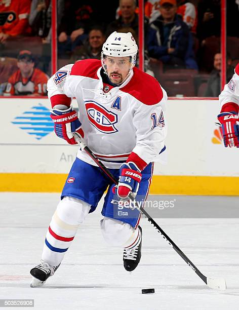 Tomas Plekanec of the Montreal Canadiens takes the puck in the third period against the Philadelphia Flyers at the Wells Fargo Center on January 5...