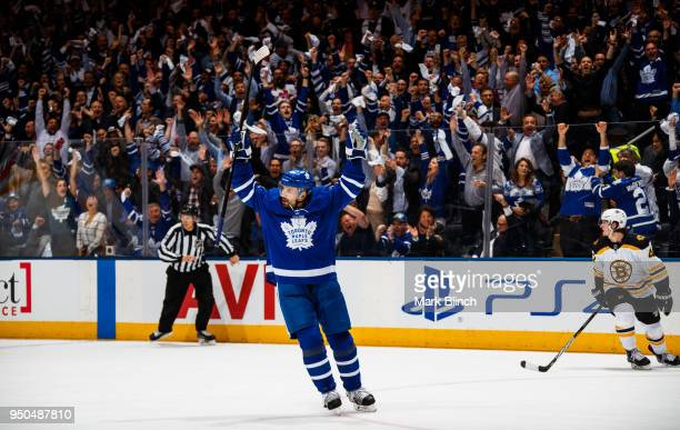 Tomas Plekanec of the Toronto Maple Leafs celebrates after scoring an empty net goal on the Boston Bruins in Game Six of the Eastern Conference First...