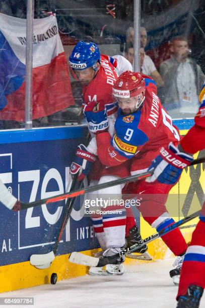 Tomas Plekanec vies with Viktor Antipin during the Ice Hockey World Championship Quarterfinal between Russia and Czech Republic at AccorHotels Arena...