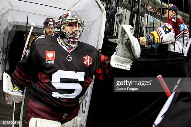Tomas Popperle of HC Sparta Prague heading to the ice before the Champions Hockey League Quarter Final match between Sparta Prague and SC Bern at O2...