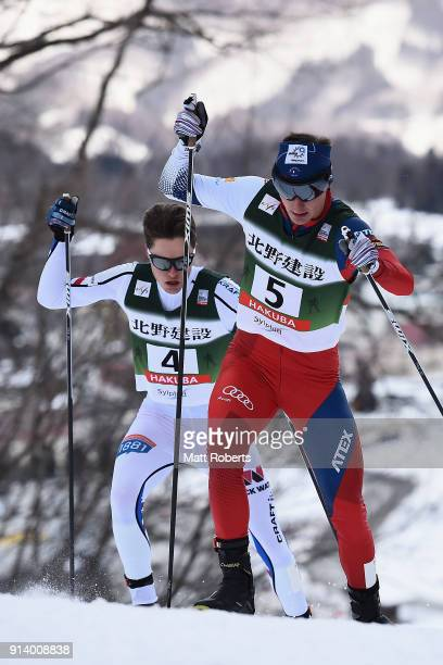 Tomas Portyk of Czech Republic competes in the Individual Gundersen LH/10km during day two of the FIS Nordic Combined World Cup Hakuba on February 4...