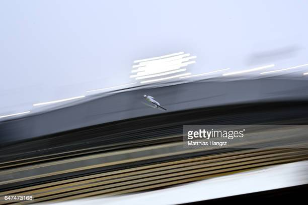 Tomas Portyk of Czech Republic competes in the Men's Nordic Combined HS130 Ski Jumping / 2 x 75km Team Sprint Cross Country during the FIS Nordic...