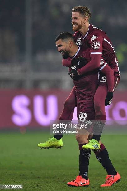 Tomas Rincon and Cristian Ansaldi of Torino FC celebrate victory at the end of the Serie A match between Torino FC and FC Internazionale at Stadio...