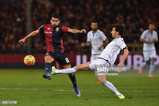 Tomas Rincon of Genoa CFC is tackled by Danilo Cataldi of SS Lazio during the Serie A match between Genoa CFC and SS Lazio at Stadio Luigi Ferraris...