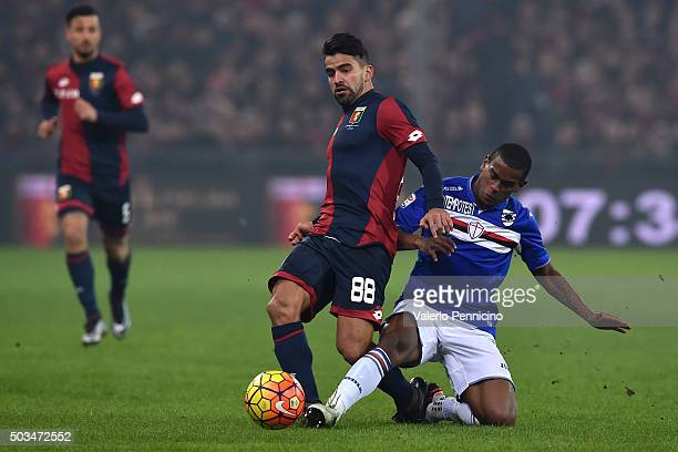 Tomas Rincon of Genoa CFC is tackled by Lucas Martins Fernando of UC Sampdoria during the Serie A match between Genoa CFC and UC Sampdoria at Stadio...