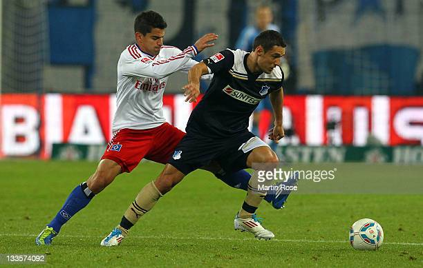 Tomas Rincon of Hamburg and Sejad Salihovic of Hoffenheim battle for the ball during the Bundesliga match between Hamburger SV and 1899 Hoffenheim at...